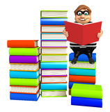 Thief with Book stack & book. 3d rendered illustration of Thief with Book stack & book Royalty Free Stock Images