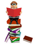 Thief with Book stack & book. 3d rendered illustration of Thief with Book stack & book Royalty Free Stock Photography