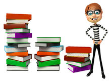 Thief with Book stack. 3d rendered illustration of Thief with Book stack Stock Images