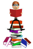 Thief with Book stack. 3d rendered illustration of Thief with Book stack Stock Photography