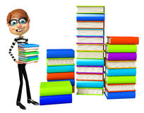 Thief with Book stack. 3d rendered illustration of Thief with Book stack Royalty Free Stock Images