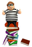 Thief with Book stack. 3d rendered illustration of Thief with Book stack Royalty Free Stock Photos