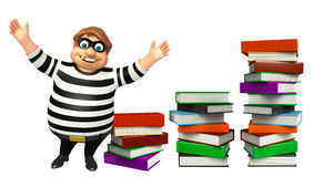 Thief with Book stack Stock Photo