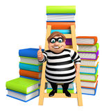 Thief with Book stack & ladder. 3d rendered illustration of Thief with Book stack & ladder Stock Images