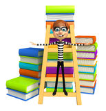 Thief with Book stack & ladder. 3d rendered illustration of Thief with Book stack & ladder Royalty Free Stock Images