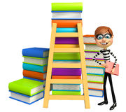 Thief with Book stack & ladder. 3d rendered illustration of Thief with Book stack Stock Photography