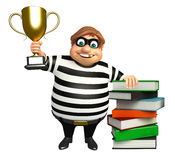 Thief with Book stack & winning cup Royalty Free Stock Image