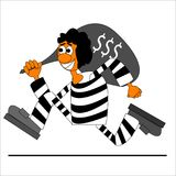 Thief bring a money running illustration. Vector Royalty Free Stock Photography