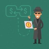 Thief broke into bank account. Illustration, thief broke into bank account, format EPS 8 Stock Photos
