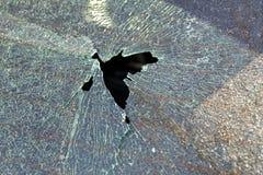 Broken car glass window