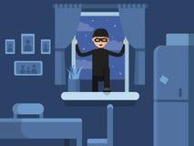 Thief broken in through the window. Burglar broken window, criminal robber in mask, vector illustration Royalty Free Stock Photos
