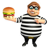 Thief with Burger. 3d rendered illustration of Thief with Burger Stock Photos