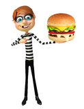 Thief with Burger. 3d rendered illustration of Thief with Burger Stock Photography