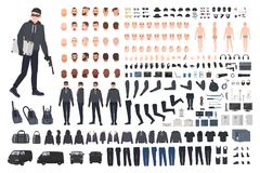 Thief, burglar or robber DIY kit. Collection of flat male cartoon character body parts in different positions, skin. Types, clothing and accessories isolated on Royalty Free Stock Photos