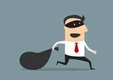Thief businessman carrying money bag. Cartoon thief businessman running with money bag, flat style Stock Photos