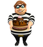 Thief with Cake. 3d rendered illustration of Thief with Cake Stock Images