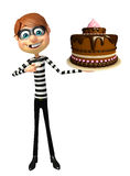 Thief with Cake. 3d rendered illustration of Thief with Cake Stock Photos