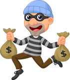 Thief carrying bag of money with a dollar sign. Illustration of Thief carrying bag of money with a dollar sign Stock Image