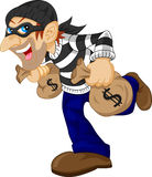 Thief carrying bag of money with a dollar sign Stock Photo