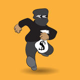 Thief carrying bag of money with a dollar sign Royalty Free Stock Photos
