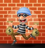 Thief carrying bag of money Stock Image