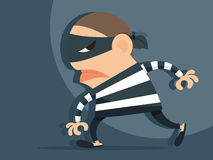 Thief. Cartoon holding knife in his hand and carrying a money bag, VECTOR, EPS10 Royalty Free Stock Images