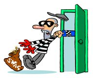 Thief caught with swag. Cartoon illustration of a thief with a swag bag containing a gold ornament being grabbed by a policeman's hand poking through a green Royalty Free Stock Images