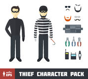 Thief Character Set Royalty Free Stock Photos