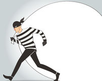 Thief character vector bandit cartoon illustration robber in a mask Stock Images