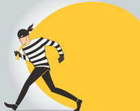 Thief character vector bandit cartoon illustration robber in a mask Stock Photos
