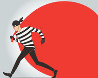 Thief character vector bandit cartoon illustration robber in a mask Royalty Free Stock Images