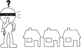 Thief Choosing House. Hand-drawn cartoon thief choosing house to burglarize Stock Photo