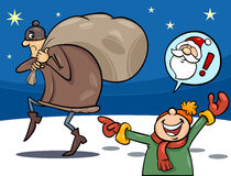 Thief on christmas cartoon illustration. Cartoon Illustration of a Little Boy who mistook the Thief with Santa Claus Royalty Free Stock Image