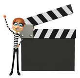 Thief with Clapper board Royalty Free Stock Image