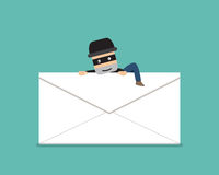 Thief climb out from phishing mail, vector. Design Royalty Free Stock Images