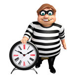 Thief with Clock. 3d rendered illustration of Thief with Clock Stock Photography