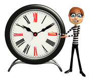 Thief with with Clock. 3d rendered illustration of Thief with Clock Royalty Free Stock Images