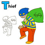 Thief. Coloring book page. Vector illustration isolated on white background Stock Photos