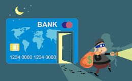 Thief. Credit card. A Bank robbery. Animation. Thief. Credit card. A Bank robbery Animation Illustration Royalty Free Stock Images