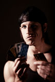 Thief with credit cards Stock Photo
