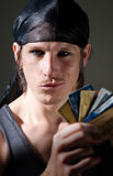 Thief with credit cards Royalty Free Stock Photos