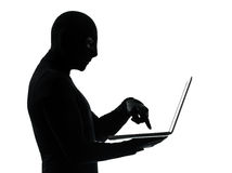 Thief criminal computer hacker silhouette Royalty Free Stock Photos
