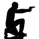Thief criminal terrorist aiming gun man Royalty Free Stock Images