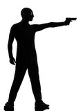 Thief criminal terrorist aiming gun man Stock Photo