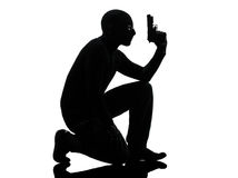 Thief criminal terrorist silhouette Stock Images