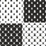 Thief or Crook Avatar Big & Small Seamless Pattern Set Stock Photos