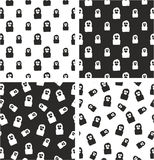 Thief or Crook Avatar Freehand Big & Small Aligned & Random Seamless Pattern Set Royalty Free Stock Photo