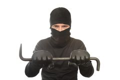 Thief and crowbar Royalty Free Stock Photos