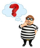 Thief with. 3d rendered illustration of Thief with Question mark sign Stock Images
