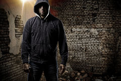 Thief in a dark alley Stock Images